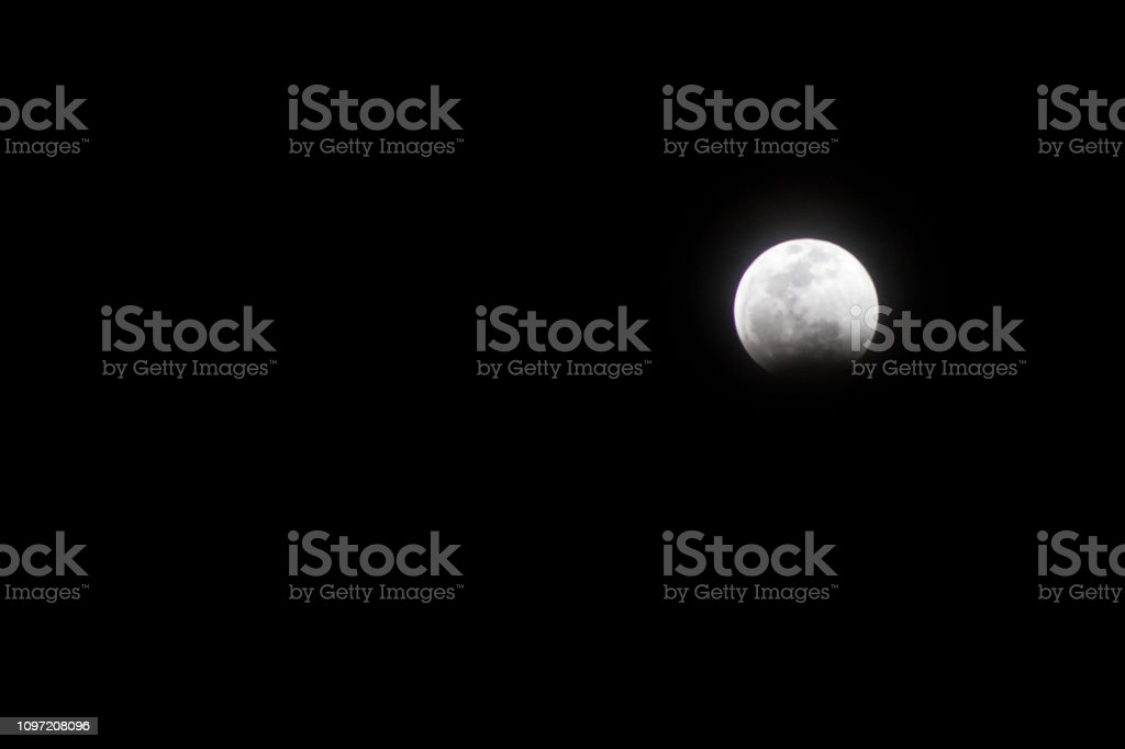 Super Blood Red Wolf Moon Eclipse Beginning stock photo