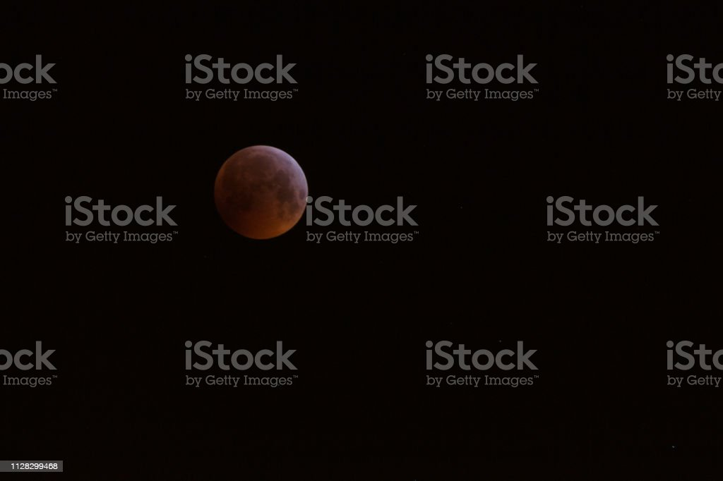 The Super Blood Wolf Moon eclipse of January 21, 2019 taken in...