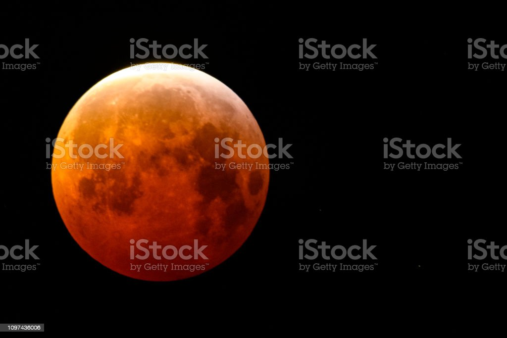 The super blood wolf moon lunar eclipse of January 2019 in the dark...