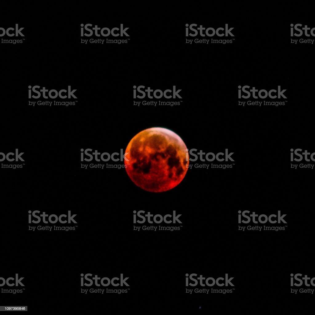 Super blood wolf moon, Newcastle upon Tyne, United Kingdom 21 01 2019 stock photo