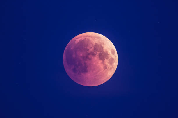 Super Bloody Moon, beginning of full eclipse phase against blue starry sky background stock photo