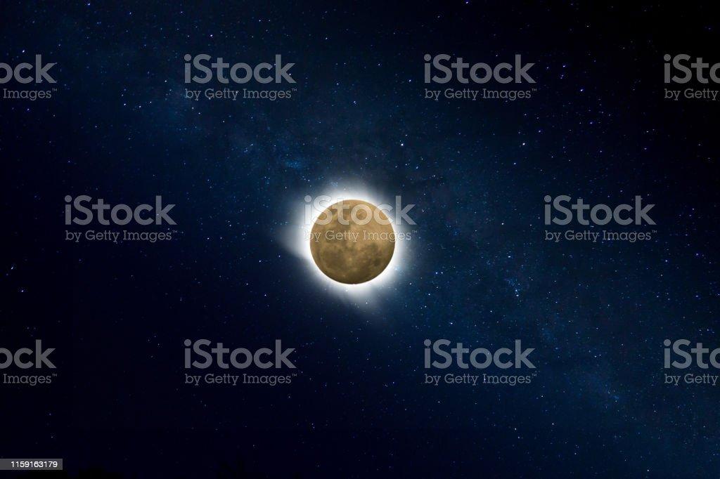 super blue blood lunar eclipse in the dark night with star.