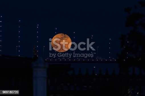 Super Blue Blood Moon Behind Bosphorus Bridge in Istanbul City, Turkey