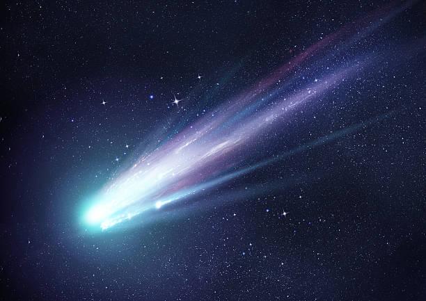 Super Bright Comet at Night stock photo