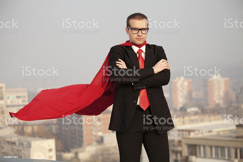 Super businessman ready to help stock photo
