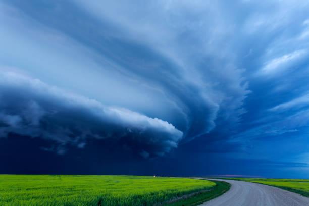 Super Cell Prairie Storm Saskatchewan Canada stock photo