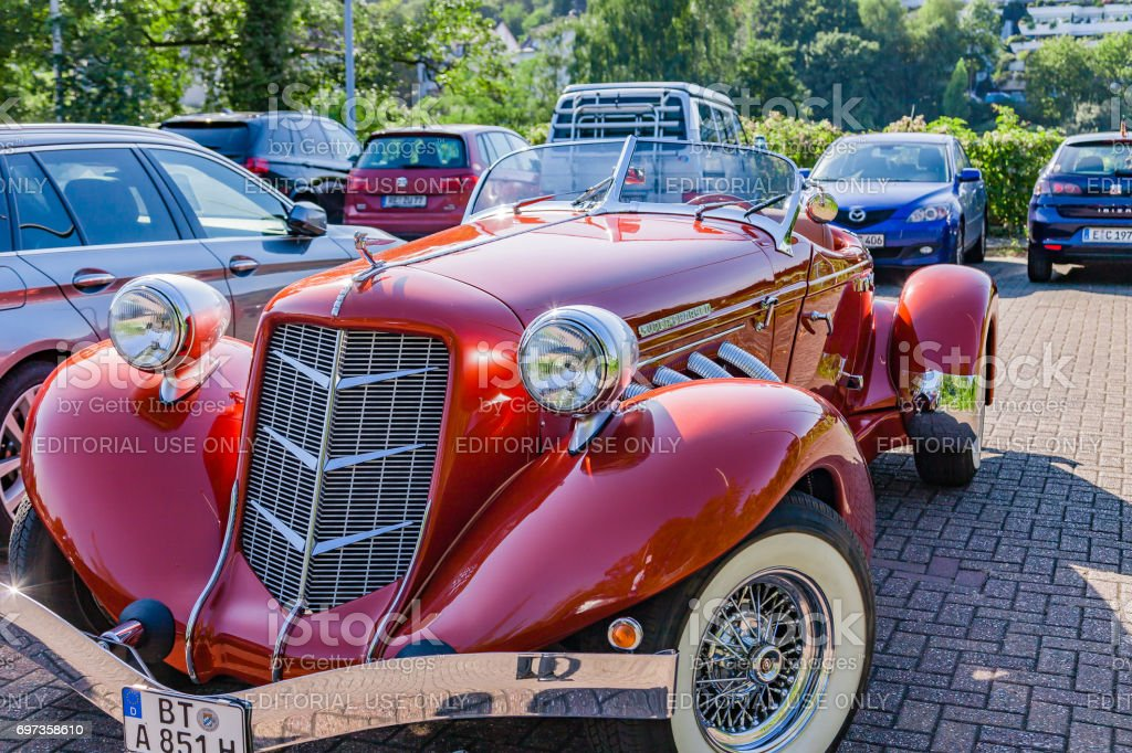 Super Charged Auburn 851 Boattail Classic. Auburn was a brand name of American automobiles produced in Auburn, Indiana from 1900 to 1936. stock photo