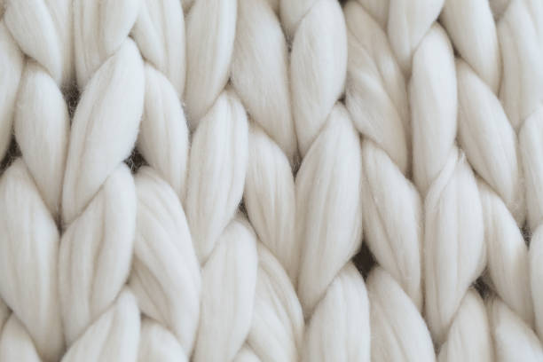 super chunky yarn, white plaid - wool stock photos and pictures