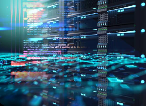 데이터 센터의 슈퍼 컴퓨터 서버 랙. 3d 일러스트레이션 - 저장고 제작물 뉴스 사진 이미지
