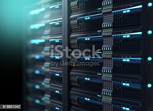 istock super computer server racks in datacenter. 3d illustration 918951042