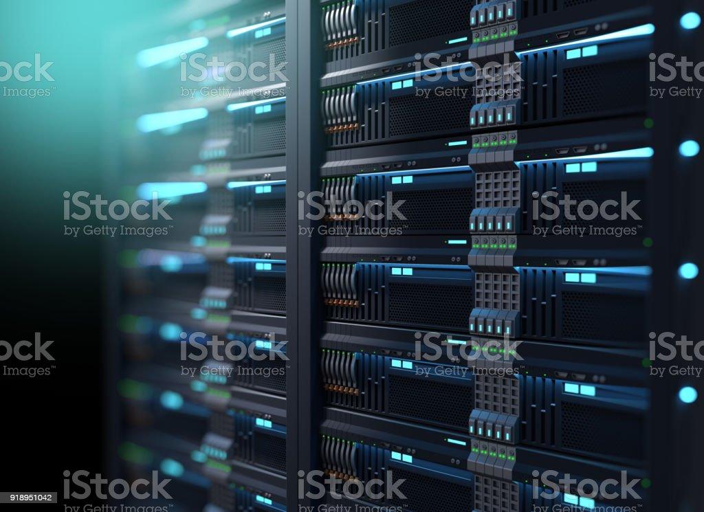 super computer server racks in datacenter. 3d illustration stock photo