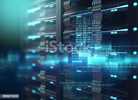 3D illustration of super computer server racks in datacenter,concept of big data storage and  cloud computing technology.