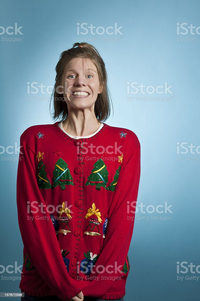 Super Excited Sweater Girl stock photo