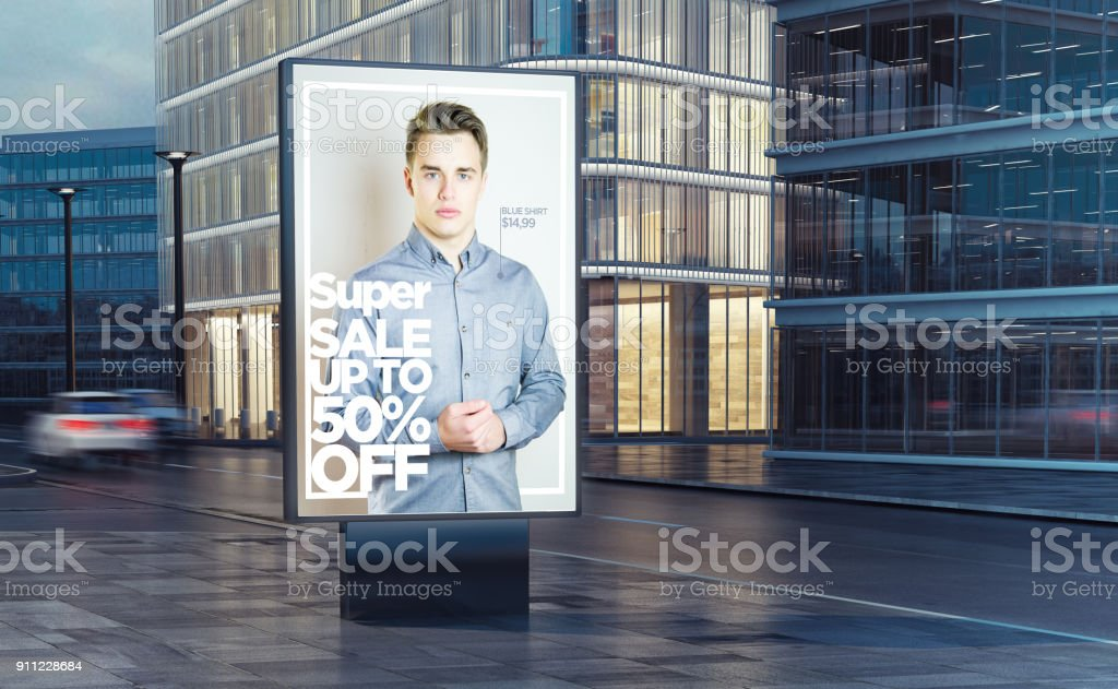super fashion sale billboard on the street stock photo