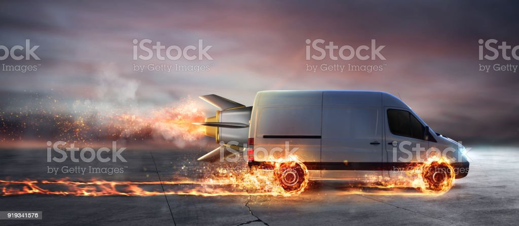 Super fast delivery of package service with van with wheels on fire foto stock royalty-free