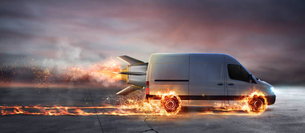 Super fast delivery of package service with van with wheels on fire - foto stock