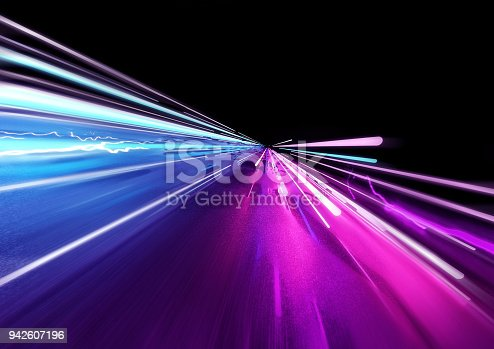 istock Super Fast Trailing Lights 942607196