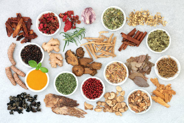 Super Food Herbal Medicine Super food collection for good health, vitality and fitness including herbs and spice used in natural and chinese herbal medicine. Flat lay. chinese herbal medicine stock pictures, royalty-free photos & images