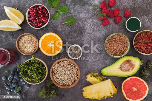 istock Super food still life, clean eating concept 908286496