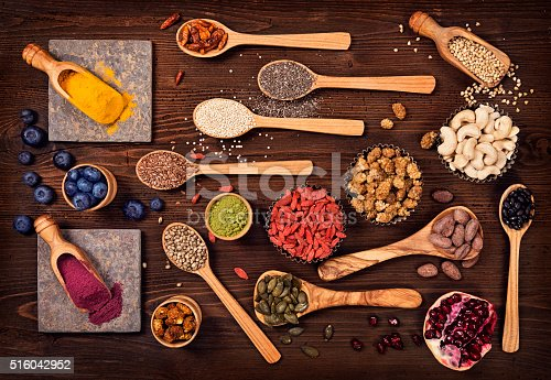 1005962360 istock photo Super foods in spoons and bowls 516042952