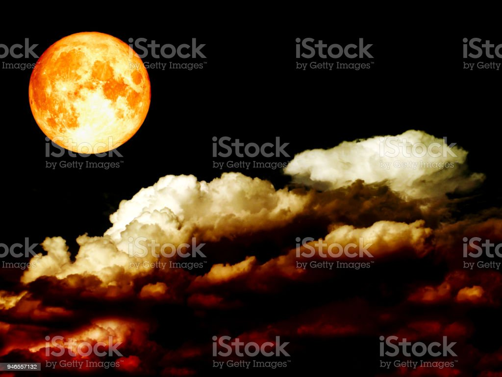 super full blood moon heap red cloud night sky stock photo
