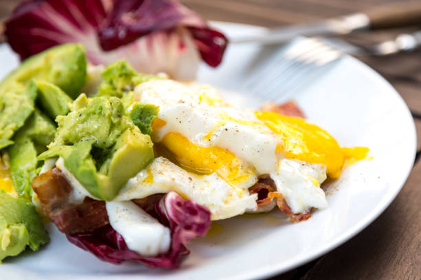 Super Healthy High Fat Low Carb Breakfast stock photo