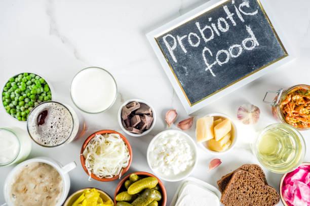 super saludables probióticos fermentan alimentos fuentes - kéfir fotografías e imágenes de stock