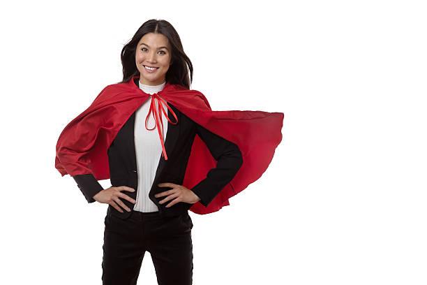 super hero business working woman - damen umhänge stock-fotos und bilder
