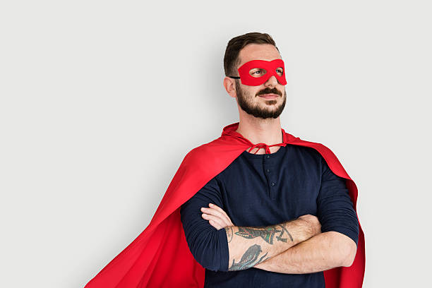 super hero costume fun concept - mask disguise stock photos and pictures