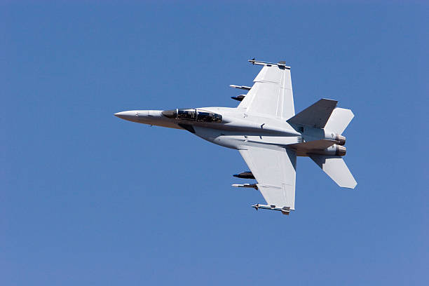 F-18 Super Hornet in the sky Shot on AeroIndia 2007 advanced tactical fighter stock pictures, royalty-free photos & images