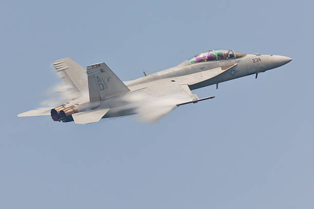 f-18 super hornet speed pass - sonic boom stock photos and pictures