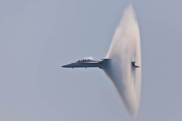 f/a-18 super hornet vapor cone - sonic boom stock photos and pictures