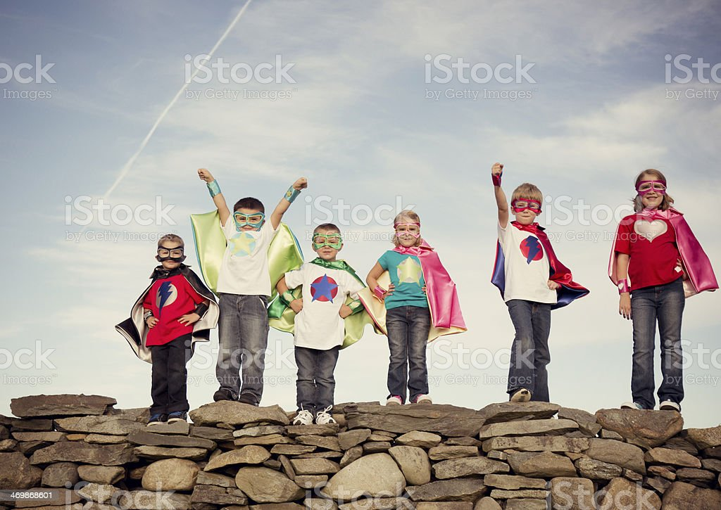 Super Kids Stock Photo & More Pictures of Arms Raised   iStock