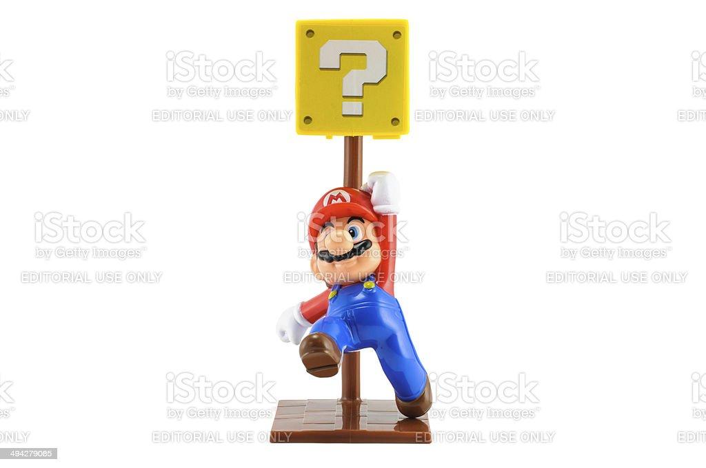 Super Mario jump to unknow box stock photo