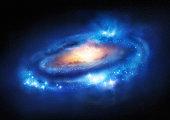 Super Massive Galaxy - A beautiful distant galaxy. Illustration.