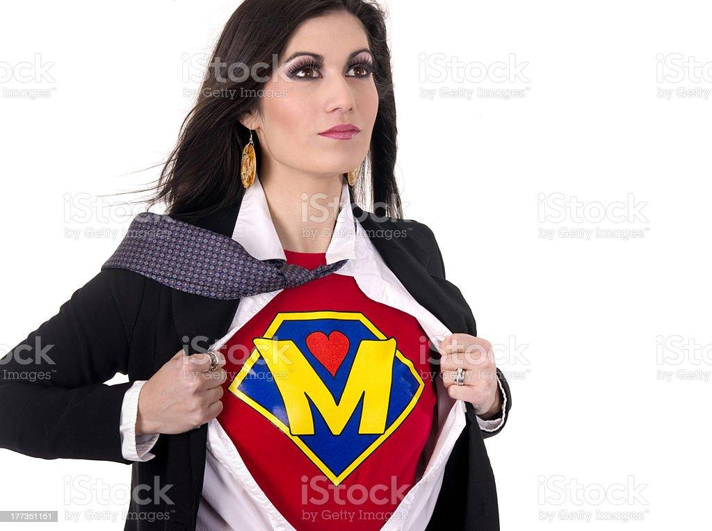 Super Mom Beautiful Female Regular Character Hero Sheds Suit stock photo