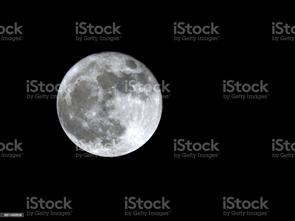 Super Moon of December 3rd, 2017 with room on right for copy