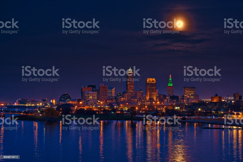 Super moon over Cleveland stock photo