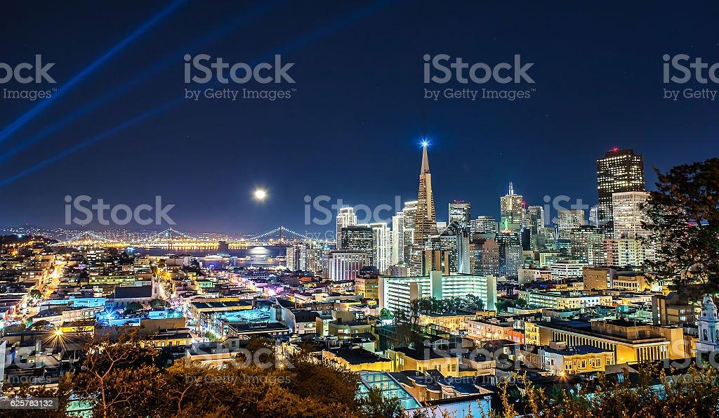 Super Moon over San Francisco stock photo