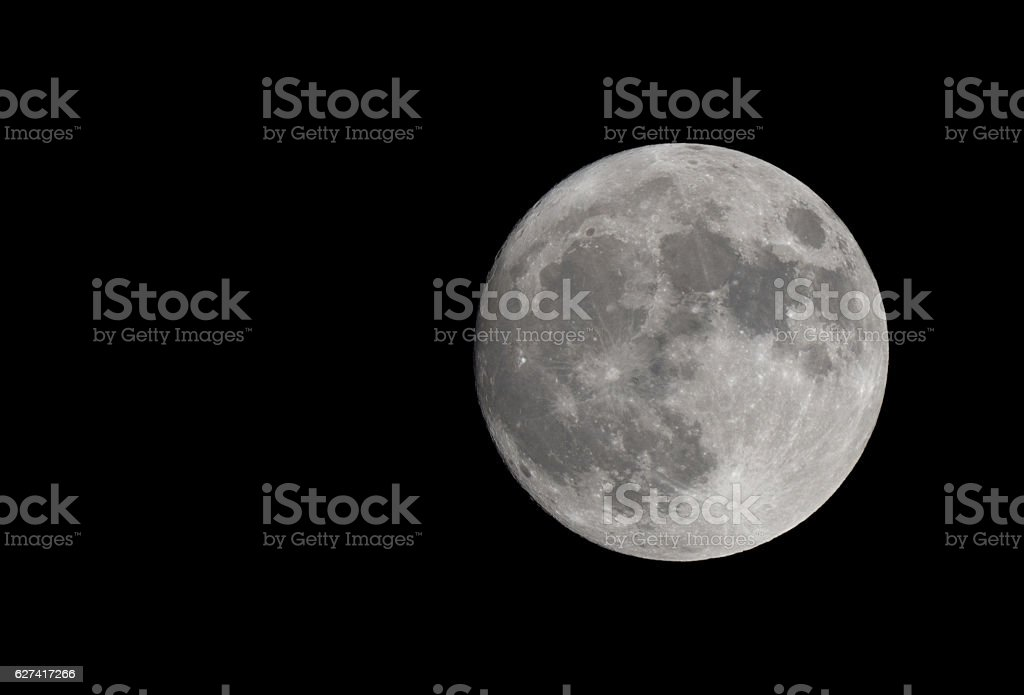 Super moon. The moon is full . Craters and mountains are clearly...