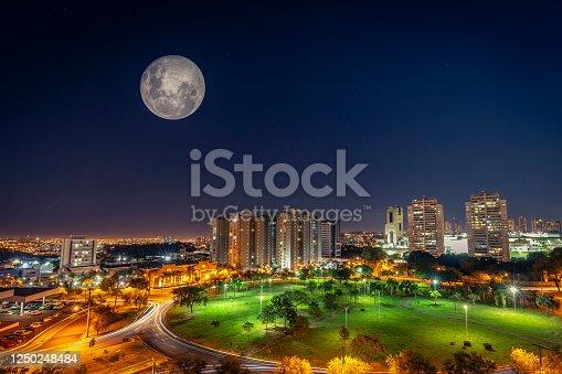 Super Moon shining at Ribeirão Preto city at night