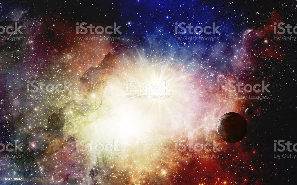 Super nova with planet stock photo