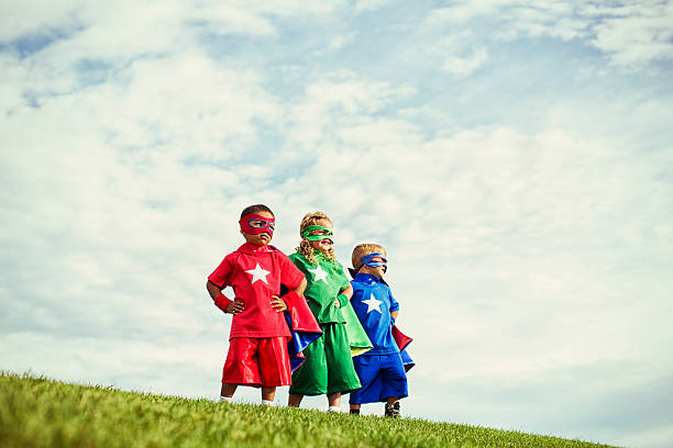 super preschoolers - three people stock photos and pictures