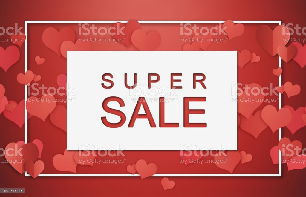Super Sale Banner, Poster. Valentines seasons sale on white frame with hearts stock photo