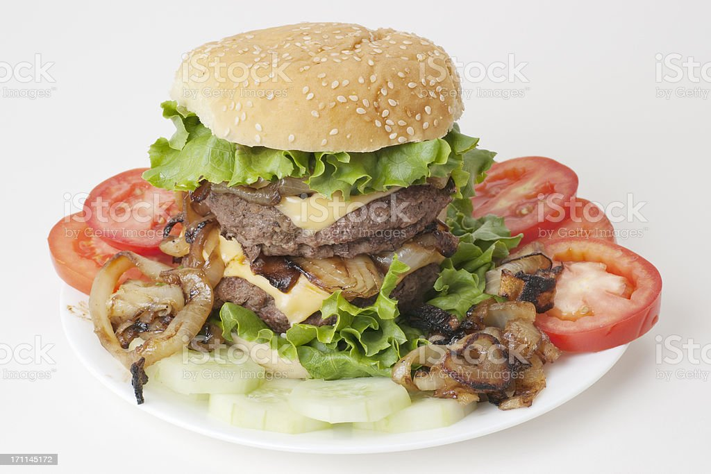 super size cheeseburger - one pound of beef royalty-free stock photo
