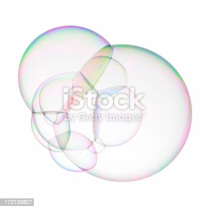 Huge multiple soap bubble isolated on white.
