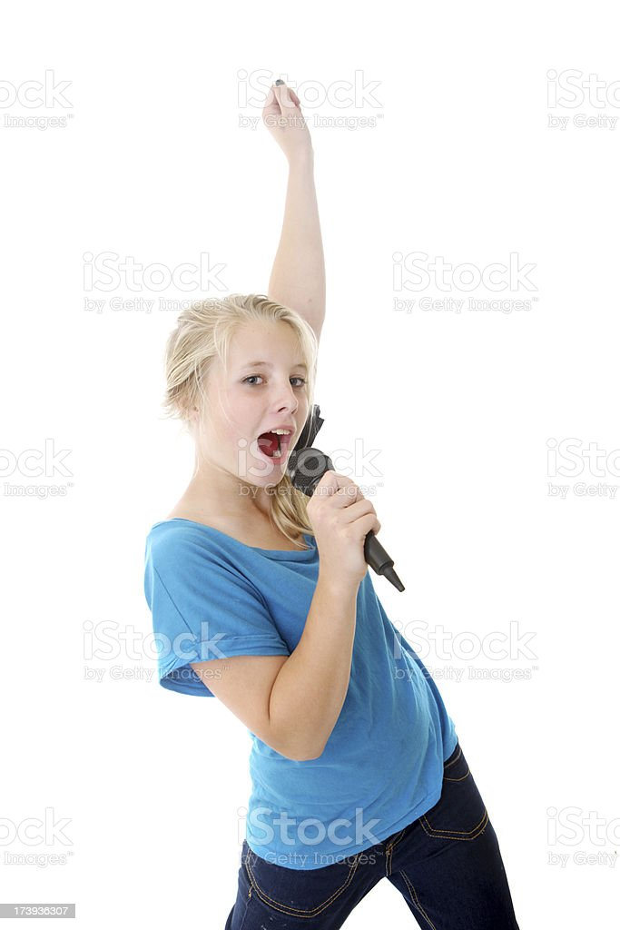 Blonde girl with microphone on white background