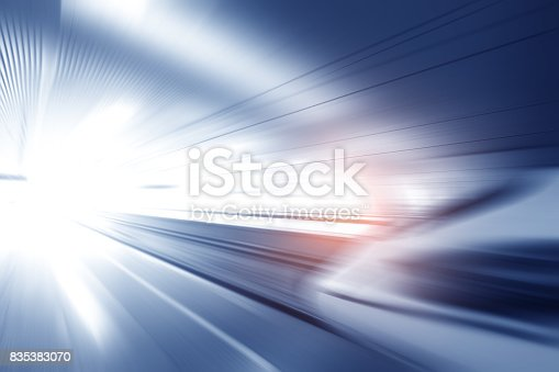 istock Super streamlined high speed train station tunnel with motion light effect background realistic poster print vector illustration 835383070