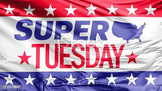 507831144 istock photo A Super Tuesday waving flag from United States of America 1210278847