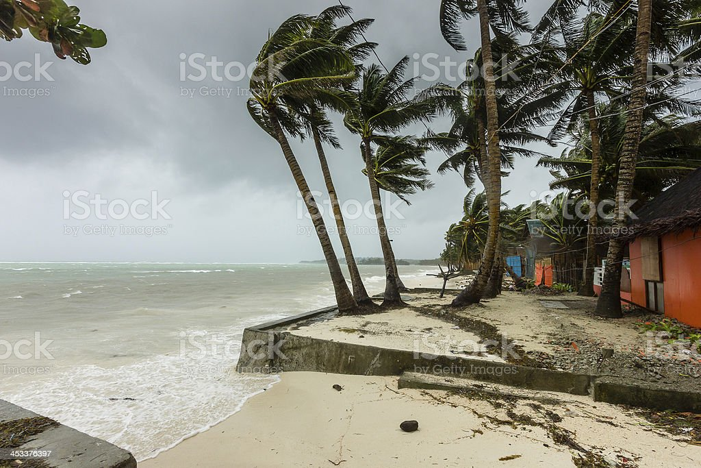 Super Typhoon Haiyan hits land in the Philippines stock photo